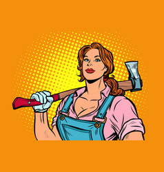 Working woman woodcutter with axe vector