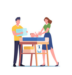 Young parents characters stand at child table vector
