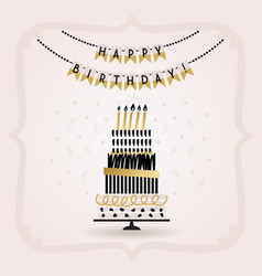 black and golden happy birthday decoration banner vector image vector image
