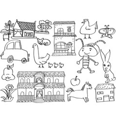 cartoon doodle kids hand draw vector image vector image