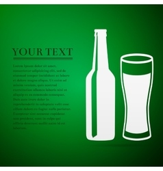 Bottle and glass of beer flat icon on green vector image
