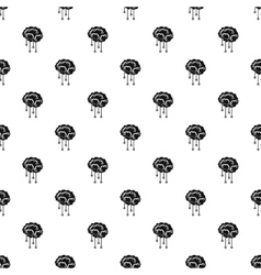 Human brain with sensors pattern simple style vector image