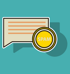 Sticker spam email warning window appear on vector