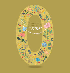 yellow number zero with floral decor and necklace vector image vector image