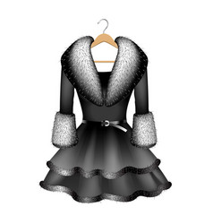 black dress with fur collar and fur sleeves vector image vector image