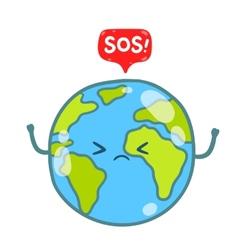 Cartoon earth globe with sos message vector