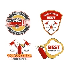 Color firefighter emblems labels and badges vector image vector image