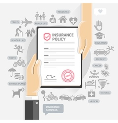 Hands give insurance document paper vector image vector image