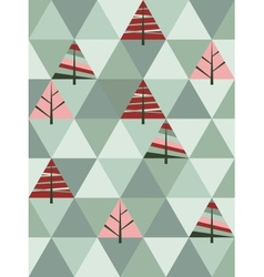 retro pattern of geometric shapes with trees vector image vector image