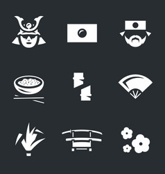 set of japan icons vector image
