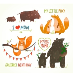 Cartoon Forest Animals Parent with Baby Birthday vector image vector image