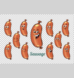 sausage emotions characters collection set vector image vector image