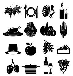 thanksgiving icons set vector image vector image