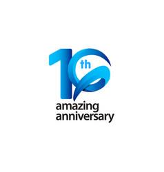 10 years amazing anniversary celebration template vector