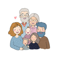 A happy family parents with children cute vector