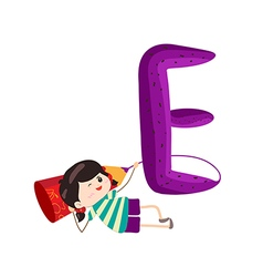 A Kid Leaning on a Letter E vector