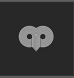 Abstract face owl logo linear design the vector