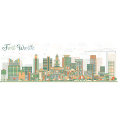Abstract fort worth skyline with color buildings vector
