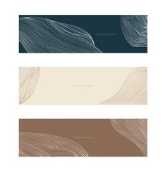 Abstract landscape banner with line pattern vector