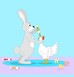 Angry rabbit feeds chicken with paint so vector