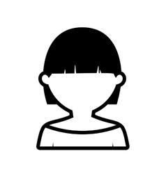 Avatar woman short hair modern outline vector