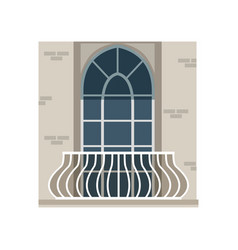 Balcony with wrought iron railing and arched vector