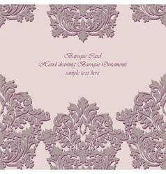 Baroque Vintage floral damask card vector