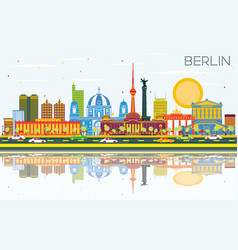 berlin germany city skyline with color buildings vector image