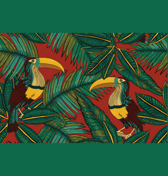 Birds paradise and tropical leaves vector