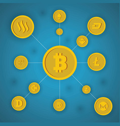 bitcoin concept on blue background vector image