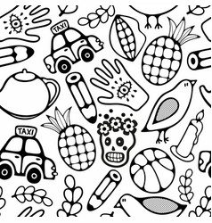 Black and white seamless for coloring vector