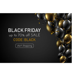 Black friday sale promotion poster with shiny vector