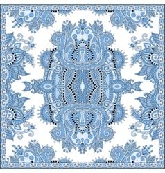 blue colour floral paisley bandanna Square vector image