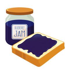 Blueberry jam spread on a bread vector