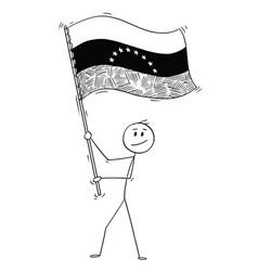 cartoon of man waving the flag of bolivarian vector image