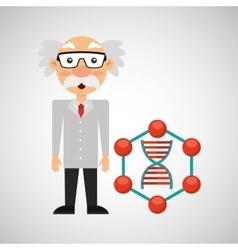 character man scientist dna medical vector image