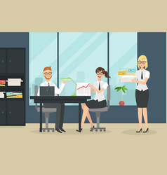 cheerful collegues working in office people at vector image