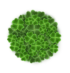 circle filled with realistic clover leaves for st vector image