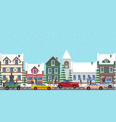 city at wintertime poster on vector image