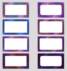 Colored digital art business card frame set vector