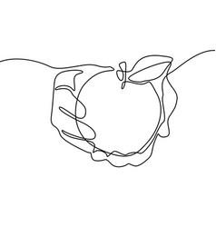 continuous line drawing apple in hand vector image