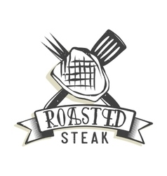 Creative logo design with steak vector