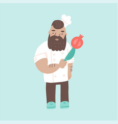 cute brutal chef in hat cartoon character cook vector image