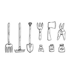 Doodle a set gardening tools farming vector