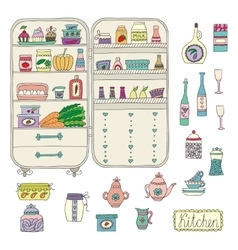 doodle refrigerator with food drawn hand vector image