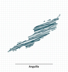 Doodle sketch of Anguilla map vector