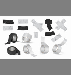 Duct tape rolls realistic black and silver vector