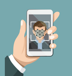Face recognition system hand holding smartphone vector