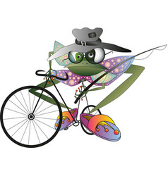 Frog personage goes fishing on bycicle vector