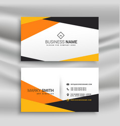 geometric yellow and black business card design vector image